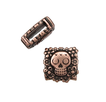 10mm Flat Sugar Skull Slider - Antique Copper